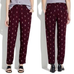 Madewell Delancey Slouch Trousers Burgundy Ikat
